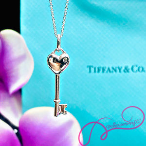T&Co. Tiffany Keys Diamond Heart Key Pendant, 18""
